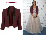 Leona Lewis' Topshop Oxblood Satin Collar Jacket