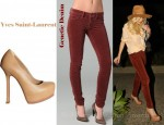 Lindsay Lohan's Yves Saint-Laurent Tribtoo Leather Pumps and Genetic Denim Shane Cigarette Pants