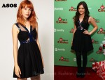 Lucy Hale's ASOS Black Skater Dress With Patent Trim Detail