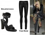 Mary-Kate Olsen's The Row Occayne Stretch-Leather Leggings and Balenciaga Leather Grommet Detail Ankle Wrap Sandals