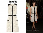 Michelle Monaghan's Jason Wu Belted Leather-Trimmed Tweed Dress