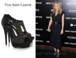 Michelle Pfeiffer's Yves Saint Laurent Studded Suede Platform Sandals