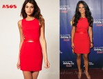 Pia Toscano's ASOS Mini Dress with Cut Out PU Trim