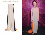 Bonnie Wright's Roksanda Ilincic Colour-Block Crepe Gown