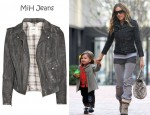 Sarah Jessica Parker's MiH Jeans Distressed Leather Biker Jacket