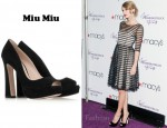 Taylor Swift's Miu Miu Suede Peep-Toe Pumps