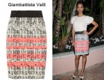 Zoe Saldana's Giambattista Valli Striped Tweed Skirt