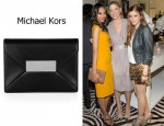 Zoe Saldana's Michael Kors Quinn Leather Envelope Clutch