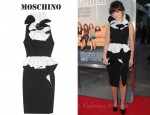 Zooey Deschanel's Moschino Ruffled Two-Tone Crepe Dress