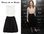 Andrea Riseborough's Oscar de la Renta Floral Cotton-Blend Organza Dress
