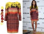 Ashley Madekwe's Topshop Wallpaper Ombre Hourglass Dress
