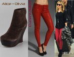 Ashley Tisdale's Current/Elliott Ankle Leather Skinny Jeans And Alice + Olivia Java Suede Wedge Booties