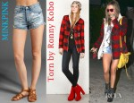 Ashley Tisdale's Torn by Ronny Kobo Taylor Lumberjack Jacket And MINKPINK Slasher Flick Shorts