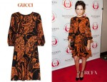 Camilla Belle's Gucci Printed Silk Dress