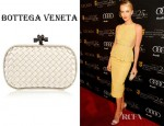 Charlize Theron's Bottega Veneta Intrecciato Satin Knot Clutch