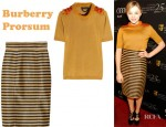 Chloe Moretz' Burberry Prorsum Embellished Silk And Cotton Blend Top, Striped Raffia Weave Skirt And Rupert Sanderson Suede Lace Up Pumps