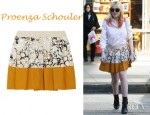 Dakota Fanning's Proenza Schouler Pleated Printed Cotton Skirt