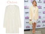 Elizabeth Olsen's Chloé Paneled Silk Crepe De Chine Shirt Dress