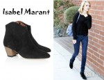 Emma Roberts' Isabel Marant Dicker Suede Ankle Boots