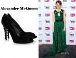 Emma Stone's Alexander McQueen Knotted Leather Trimmed Suede Pumps