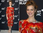 Eva Herzigova In Dolce & Gabbana - Montblanc Booth At SIHH High Jewellery Fair