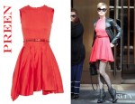 Evan Rachel Wood's Preen Prym Belted Stretch Cotton Drill Dress