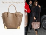 Eva Mendes'  Salvatore Ferragamo Leather Tote