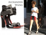 Rihanna's Alexander Wang Chloe Perch-Trimmed Leather Sandals