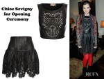 Hailee Steinfeld's Chloe Sevigny for Opening Ceremony Laser Cut Leather Pinafore Top and Corseted Leather Mini-Skirt