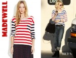January Jones' Madewell Striped Transmission Tee