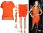 Jennifer Lopez' 3.1 Phillip Lim Cotton Stretch Silk Chiffon T-Shirt And Draped Wrap Skirt