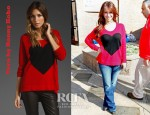 Jennifer Love Hewitt's Torn by Ronny Kobo Jovia Heart Sweater