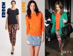 Jessica Alba's Acne Lia Cashmere Sweater and Erdem Cropped Floral Pants