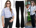 Jessica Alba's J Brand Lovestory Jeans and Madewell Silk Gatehouse Shirt