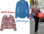 Jessica Alba's MiH Jeans Cropped Woven Cotton Jacket, MiH Jeans Star Print Silk Crepe Shirt And Tory Burch Robinson Satchel