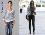 Jessica Alba's Splendid Navy Stripe Thermal Pullover