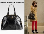 Katharine McPhee's Yves Saint Laurent Patent Leather Muse Bag