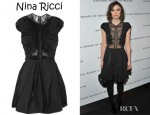 Keira Knightley's Nina Ricci Ruched Taffeta And Lace Dress