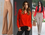 Kim Kardashian's Equipment Signature Blouse and Rachel Zoe Angelica Wide Leg Pants