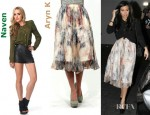 Kourtney Kardashian's Naven Gladiator Blouse and Aryn K Peach Snake Skirt