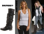 LeAnn Rimes' James Perse Vintage Stripe Deep V Tank and Boutique 9 Marl Boot