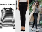 Liv Tyler's Rag & Bone Casual Pants And Proenza Schouler Striped Cotton Jersey Top