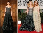 Madonna In Reem Acra & Andrea Riseborough In Vivienne Westwood - 2012 Golden Globe Awards