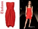 Megan Fox's Thakoon Draped Cotton Blend Poplin Dress
