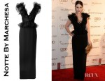 Michelle Trachtenberg's Notte By Marchesa V Neck Ruffle Column Gown