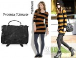 Nicky Hilton's Madewell Striped Lamppost Sweater Dress And Proenza Schouler PS1 Large Leather Satchel