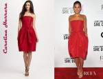 Olivia Munn's Carolina Herrera Strapless Silk Dress