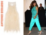 Rihanna's Antonio Berardi Feathered Silk Crepe Top