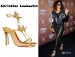 Rihanna's Christian Louboutin Lady Max 100 Spike Embellished Metallic Leather Sandals