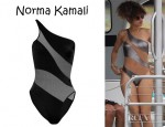 Rihanna's Norma Kamali Snake Mio One Shoulder Swimsuit